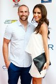 NEW YORK-MAY 30: New York Giants player Tyler Sash and guest attend the 5th annual Tuck's Celebrity Billiards Tournament at Slate NYC on May 30, 2013 in New York City.