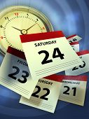 image of pass-time  - A clock and some calendar sheet symbolizing the passing of time - JPG