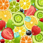Summer holidays vector illustration set with cocktail fruits and berries. Strawberry, cherry, orange