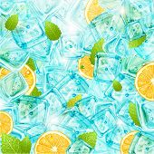 Ice background with leafs, lemons and sun shine for fresh summer design. Vector illustration.
