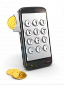 Mobile phone payment. Payphone keyboartd and coins. 3d