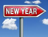 2014 next year happy new year red road sign button