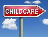 pic of babysitting  - child care in daycare or creshe by nanny or au pair parenting or babysitting protection against child abusered road sign arrow with text and word concept - JPG
