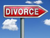 pic of divorce-papers  - divorce papers or document by lawyer to end mariage dissolution often after domestic violence alimony parental plan and rights red road sign arrow with text and word concept - JPG
