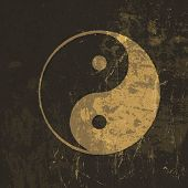 Yin yang grunge icon. With stained texture. Raster version, vector file available in my portfolio.