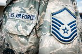 U.s. Army Air Force Emblem And Rank On Soldier Uniform