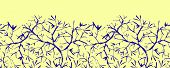 Painted tree brunches horizontal seamless pattern background