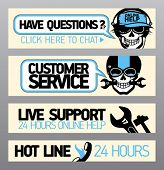 Customer service support banners with skull