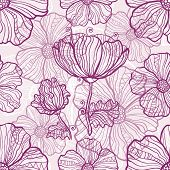 Ornate poppy flowers vector seamless pattern