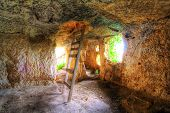stock photo of longhouse  - Medieval complex byzantine residence in the sicilian hinterland interior - JPG