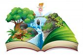 Illustration of an open book with an image of a fairy land on a white background
