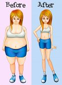 Illustration of a transformation from a fat into a slim lady