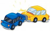 Illustration of the two cars bumping on a white background