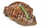 Cooked rib-eye steak