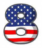 Illustration of a number eight figure with the USA symbols on a white background