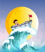 Illustration of a girl reading on a boat at the top of the big wave