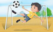 Illustration of a soccer player kicking a soccer ball