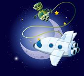 illustration of an airship and a robot in the outerspace