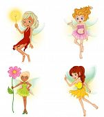 Illustration of the four beautiful fairies on a white background