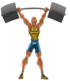 stock photo of lifting weight  - the old man lifting a heavy iron - JPG