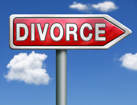 picture of divorce-papers  - divorce papers or document by lawyer to end mariage dissolution often after domestic violence alimony parental plan and rights red road sign arrow with text and word concept - JPG