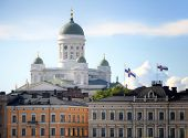 Panoramic view on the Helsinki Cathedral in Helsinki, Finland