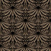 image of damask  - Art deco vector geometric pattern in brown color - JPG