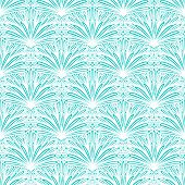 Art deco vector floral pattern in tropical blue