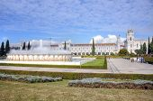 Panoramic view on the Hieronymites Monastery and park  in Lisbon, Portugal