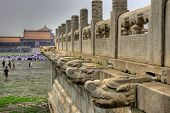 Stone sculptures of the Forbidden City in Beijing China