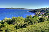 View of coastline near Saint Tropez, C�?�´te d'Azur, France