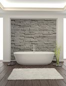 stock photo of tub  - Modern Bathroom interior with stone wall - JPG