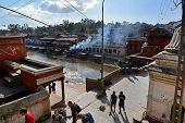 Human Cremation Ghtas Along The Holy Bagmati River. Pashupatinath, Nepal