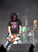 Mark Hamilton and Rick McMurray of indie / rock band Ash on stage at Hop Farm Festival