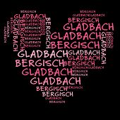 Bergisch Gladbach  word cloud in pink letters against black background