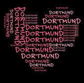 Dortmund word cloud in pink letters against black background