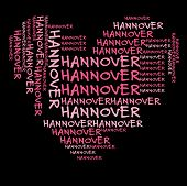 Hanover word cloud in pink letters against black background