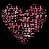 Neele word cloud in pink letters against black background