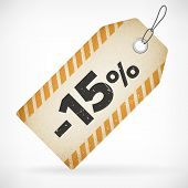 Realistic Paper 15% Sale Off Price Labels