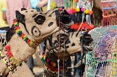 stock photo of nomads  - Two decorated tribal nomad camels at cattle festival in hindu holy town Pushkar,Rajasthan, India
