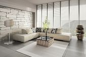 stock photo of bamboo  - 3D rendering of loft apartment interior - JPG