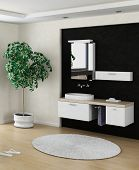 Black and white bathroom interior with modern wash basin / sink