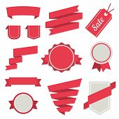 Vector Stickers and Badges in Red