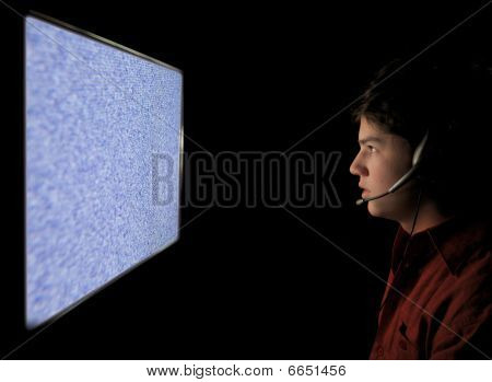 poster of Young Man Staring Into Static Tv Computer Screen
