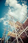 scaffolding construction with  blue sky.instagram look