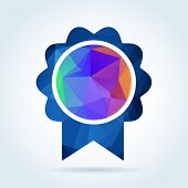 picture of rosettes  - Award rosette badge with triangle pattern - JPG