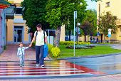 picture of zebra crossing  - father and son crossing the city street on crosswalk - JPG