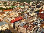 Ukraine. Lviv top view of from of the City Hall.
