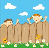 Children Looking Over Fence