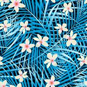Palm Leaves Blue Seamless Pattern With Frangipani Flowers